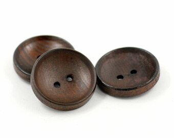 Concave Dark Brown Wooden Buttons, 0.95 inch (6 in a set)
