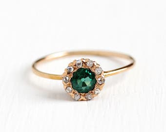 Antique 14k Rosy Yellow Gold Green Garnet Doublet & Rose Cut Diamond Halo Ring - Vintage Size 8 1/2 Antique Edwardian 1900s Fine Jewelry