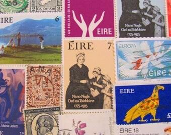 March Madness Shamrock Shakedown 50 Vintage Irish Postage Stamps Eire Ireland Eire Celtic St Patrick Dublin Lucky Paddy Worldwide Philately