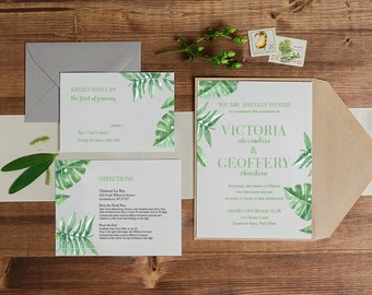 Green leaf tropical wedding invitations, Palm Leaf Wedding Invitation, Banana Leaf Invitation, wedding invitation