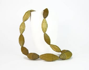 Golden: Statement Necklace FILA with Beads of Corrugated Cardboard