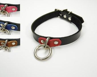 BDSM slave collar two toned leather customizable sizes - Free US Shipping