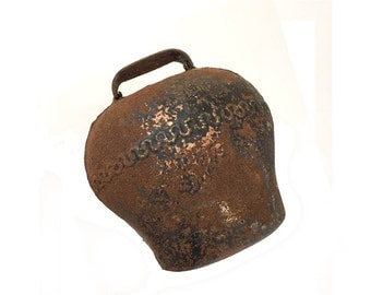 Vintage French Cow Bell Rusty Primitive Farm Bell