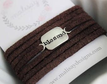 custom leather and sterling silver wrap bracelet • personalized bracelet • hand stamped • stacking bracelet • unisex gift