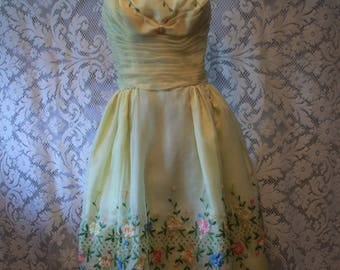Vintage 1950s Spring Yellow Chiffon Prom Dress Embroidered Flowers Will Steinman Original