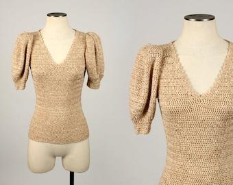 designer vintage SONIA RYKIEL knit • 1970s hand knit puff sleeve sweater