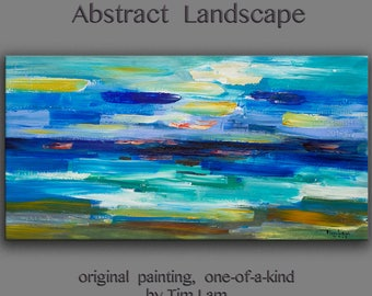 """Original oil Painting Wall Art Abstract Painting 48"""" Canvas  Surreal Landscape Wall Decor Modern Home Deco, Wall Hanging,  by Tim Lam"""
