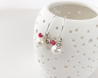 Sterling Silver Pearl and Ruby Dangle Heart Earrings Fringe Drop Beaded Under 25 Gift for Women June July Birthstone Sister Valentine Small