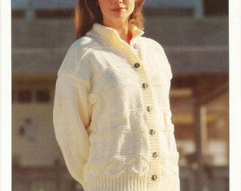 Long Line Jacket Knitting Pattern Ladies Chunky Knit Long Line Cardigan ORIGINAL Knitting Pattern