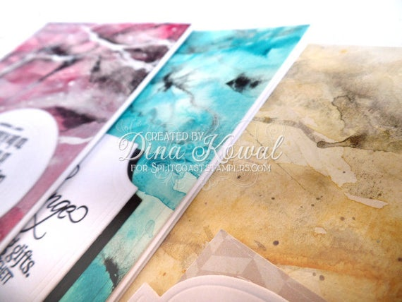 3 handmade greeting cards - quotes - handpainted marble backgrounds