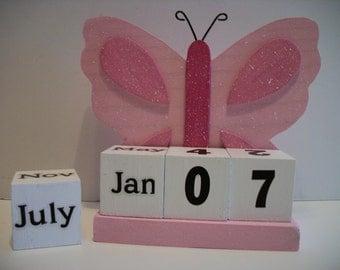 Pink Butterfly Calendar Perpetual Wood Block Pink Butterfly Decor