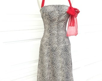 A vintage NOS 1980s leopard animal print red halter sexy coctail dress size S