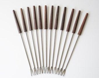 Vintage Teak & Stainless Appetizer Fondue Forks - Danish Modern