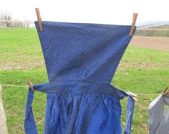 "Pinner Apron - blue print homespun - 43"" total length - 82"" long ties - pins available - for Civil War / Colonial reenacting reenactment"