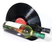 Vinyl Record Tabletop Wine Rack - Securely Holds 2 Bottles of Wine