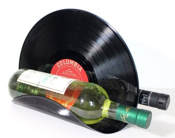 Vinyl Record Tabletop Wine Rack - Securely Holds 2 Bottles of Wine