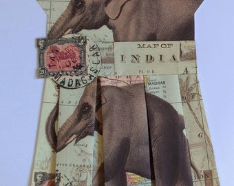 """MAP OF INDIA - Vintage Paper Art Dress, Framed, Ready to Hang, Great Home Office Decor Size 24"""" x 30"""" high"""