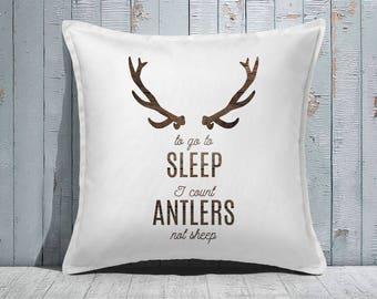 Custom Decorative Pillow | Throw Pillow | Custom Pillow | 20 x 20 Pillow Cover | Custom Pillow Cover | Personalized Pillow|woodgrain antlers