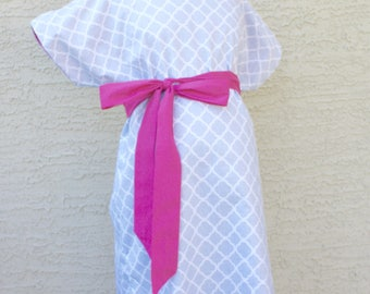Preston Maternity Hospital Delivery Gown - White Quatrefoil on Gray - Lined or Unlined -Gender Neutral - by Mommy Moxie on Etsy