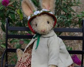 "RESERVED for Janet. Hampton Bears, Hetty Hare,  antique style Artist Bunny Bear 11"" tall."