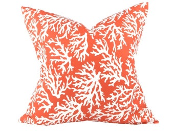 Square Coral Beach Decor Pillow Cover, Decorative Pillow Covers, Outdoor Pillows, Personalized Pillows, Toss Pillows, - Made to Order