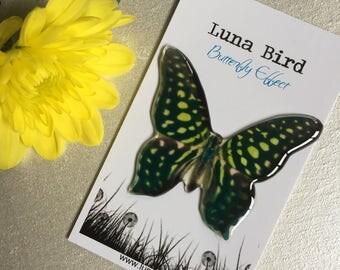 Butterfly Effect Brooch, Green (GB1) by Luna Bird for the 1200 Butterfly Wall at Butterfly Effect Exhibition