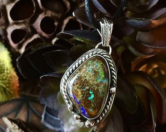 Cosmos- Shimmering Boulder Opal Necklace