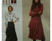 "Sandra Betzina Rouched Skirt Pattern, Yoke, Asymmetrical Hem, Side Drape, Lined/Unlined, Vogue 1018 UNCUT Size Waist 26.5-50.5"" (88-145cm)"
