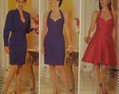 Halter Evening Dress Pattern, Heart Shaped Bodice, Fitted, Straight/Flared Skirt, Above Knee, Bolero, Butterick No.5842 UNCUT Size 6 8 10