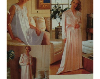 Lace Yoke Nightgown, Robe Pattern, V-neck, Sleeveless/Long Sleeves,  Long/Short Nightie, Wrap Robe, Vogue No. 7653 Size L XL (16-22)