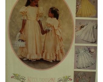 Flower Girl Dress Pattern, Fitted Bodice, Full Skirt, Bottom Flounce, Full Sleeves, Sash, Kitty Benson, McCalls No. 4656 UNCUT Size 8