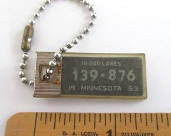 1953 MN License Plate Key Chain - Vintage Disabled American Veterans Keychain