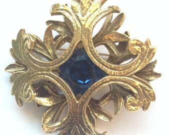 Vintage Benedikt NY Brooch Large Antique Gold Tone Blue Rhinestone