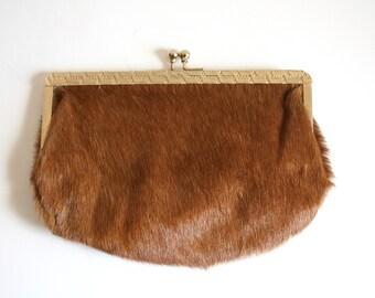 SALE Genuine Fur Kiss Lock Clutch