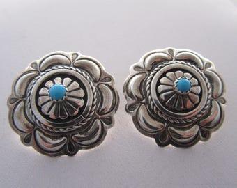 Sterling Suzie James Navajo Turquoise Earrings