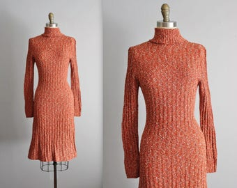 70's Sweater Dress // Vintage 1970's Rust Boucle Ribbed Knit Sweater Dress M