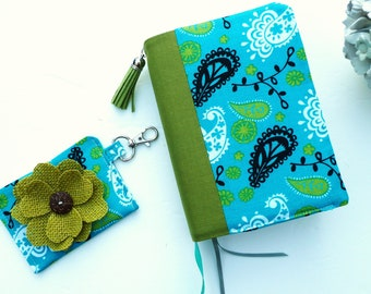 Set Bible / Journal Handmade Cover With Pockets And Contact Card Holder & Burlap Flower