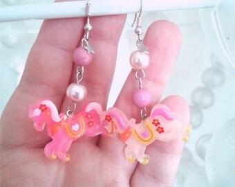 Kawaii Carousel Horse Earrings - Fairy Kei, cosplay, kawaii