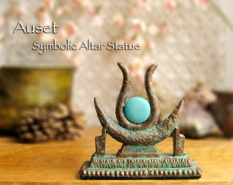 The Goddess Auset - Handcrafted Horns, Solar Disc and Thrones Symbolic Altar Statue - 20mm Blue Dyed Howlite Disc- Aged Bronze Patina Finish