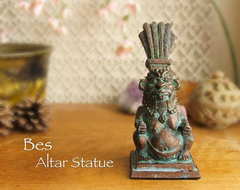 Bes Altar Statue - Protector Against Ills - Patron of Childbirth - Guardian of Families and Home -Handcrafted with Aged Bronze Patina Finish