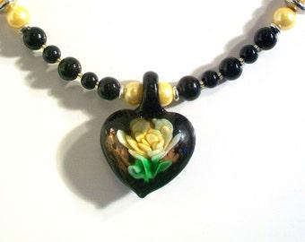 Heart Pendant, Black Pearl Necklace Set, Pendant Necklace Set, 2 Piece Set