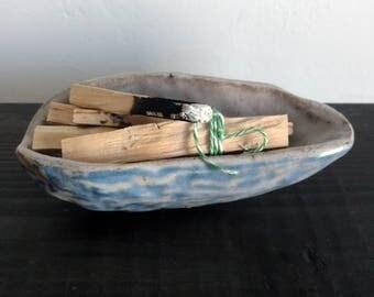 Handmade Ceramic Smudge Bowl, Ceramic Shell, Jewelry Bowl, Hand-formed Succulent Planter, Incense Bowl, Palo Santo Bowl, Sage Bowl