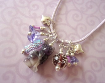 Cat Necklace, Glow in the Dark, Carved Amethyst Cat, Charm Necklace