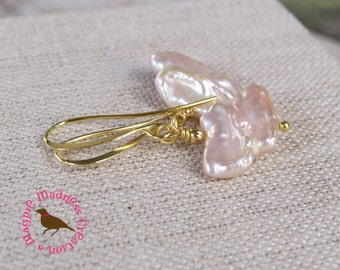 Pale Pink Biwa Pearl Dangle Earrings in Gold, Pink Stick Pearl Earrings, by MagpieMadness for Etsy