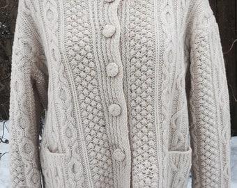 Vintage 1950's Original Irish Fisherman's Wool Cardigan Sweater
