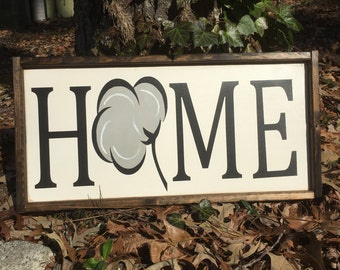 Cotton boll Home sign