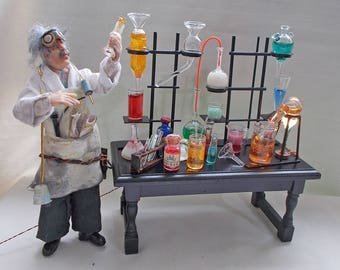 Dollhouse Miniature Apothecary Laboratory Work Table ( Dr. Jekyll or Sherlock Holmes )