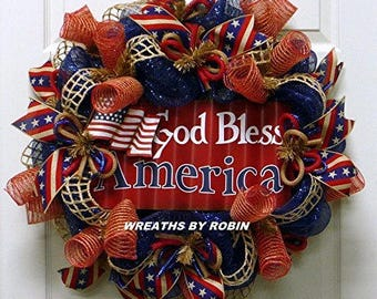Metal Flag God Bless America, RWB Wreaths, Patriotic Wreaths (2757)