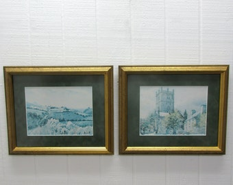 Vintage Alun Davies Framed Prints Road Home & ST. David's Cathedral And Cloister Hall