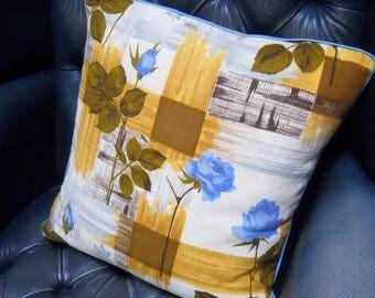 SALE RETRO Rose circa 1950s Cushion cover in genuine Barkcloth Vintage Fabric Yellow / Mustard / blue